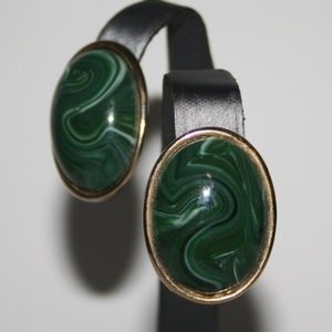 """Vintage gold and """"malachite"""" earrings"""